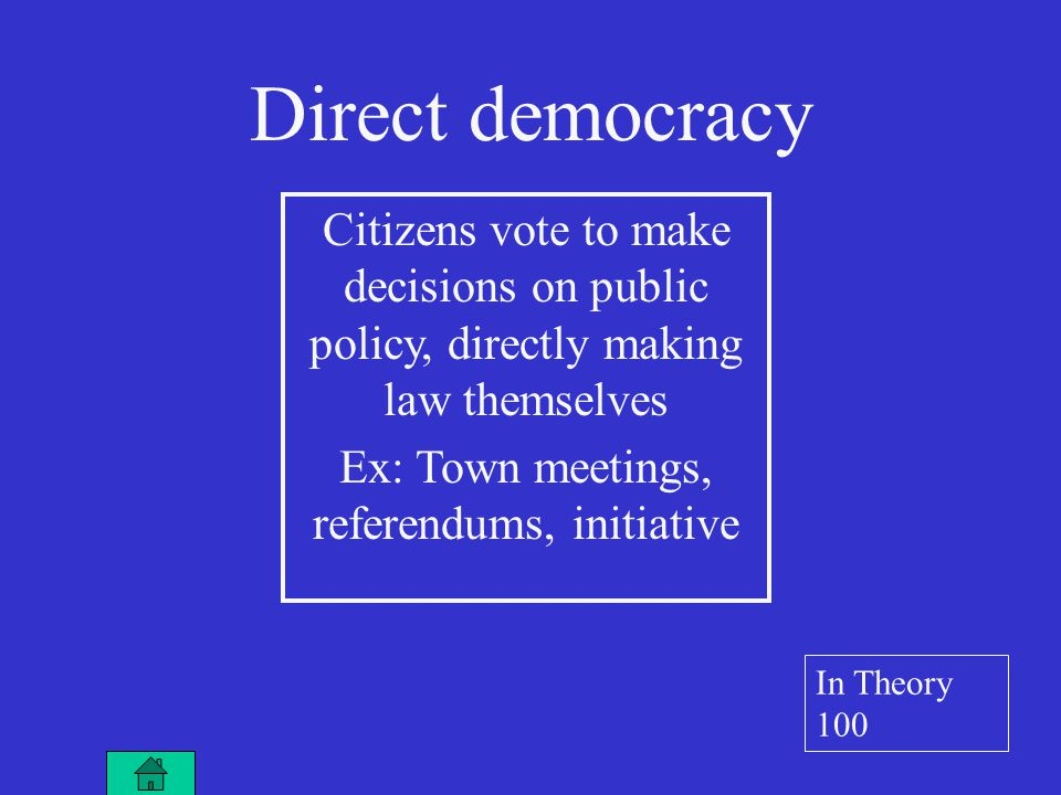 Citizens vote to make decisions on public policy, directly making law themselves Ex: Town meetings, referendums, initiative Direct democracy In Theory 100