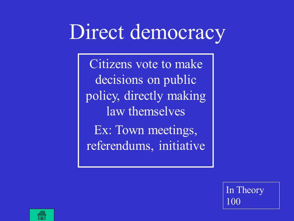 Citizens elect representatives who make laws Ex: U.S.