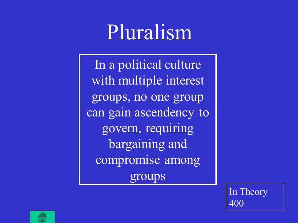A situation in which interest groups block one another, creating stalemate and inaction Hyperpluralism In Theory 500