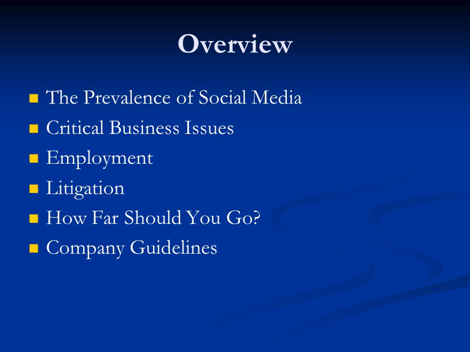 Overview The Prevalence of Social Media Critical Business Issues Employment Litigation How Far Should You Go.
