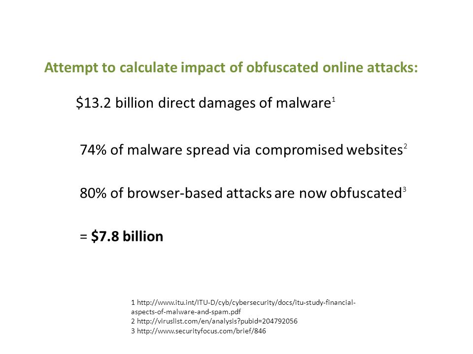 Attempt to calculate impact of obfuscated online attacks: 1 http://www.itu.int/ITU-D/cyb/cybersecurity/docs/itu-study-financial- aspects-of-malware-and-spam.pdf 2 http://viruslist.com/en/analysis pubid=204792056 3 http://www.securityfocus.com/brief/846 74% of malware spread via compromised websites 2 80% of browser-based attacks are now obfuscated 3 = $7.8 billion $13.2 billion direct damages of malware 1