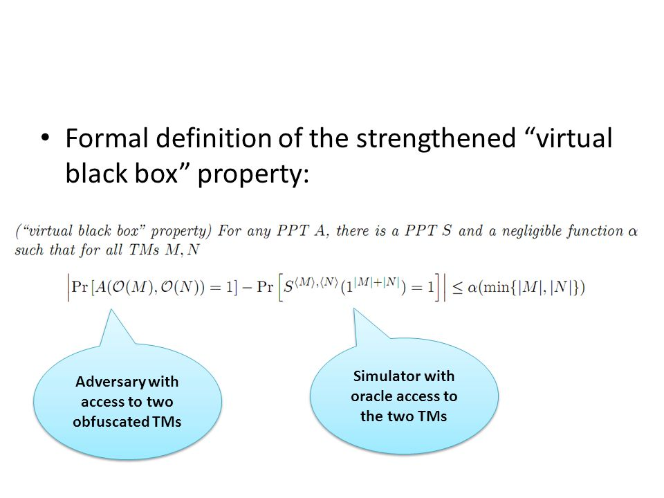 "Formal definition of the strengthened ""virtual black box"" property: Adversary with access to two obfuscated TMs Simulator with oracle access to the tw"