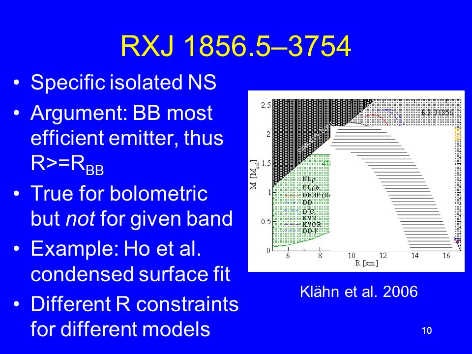 RXJ 1856.5–3754 Specific isolated NS Argument: BB most efficient emitter, thus R>=R BB True for bolometric but not for given band Example: Ho et al.
