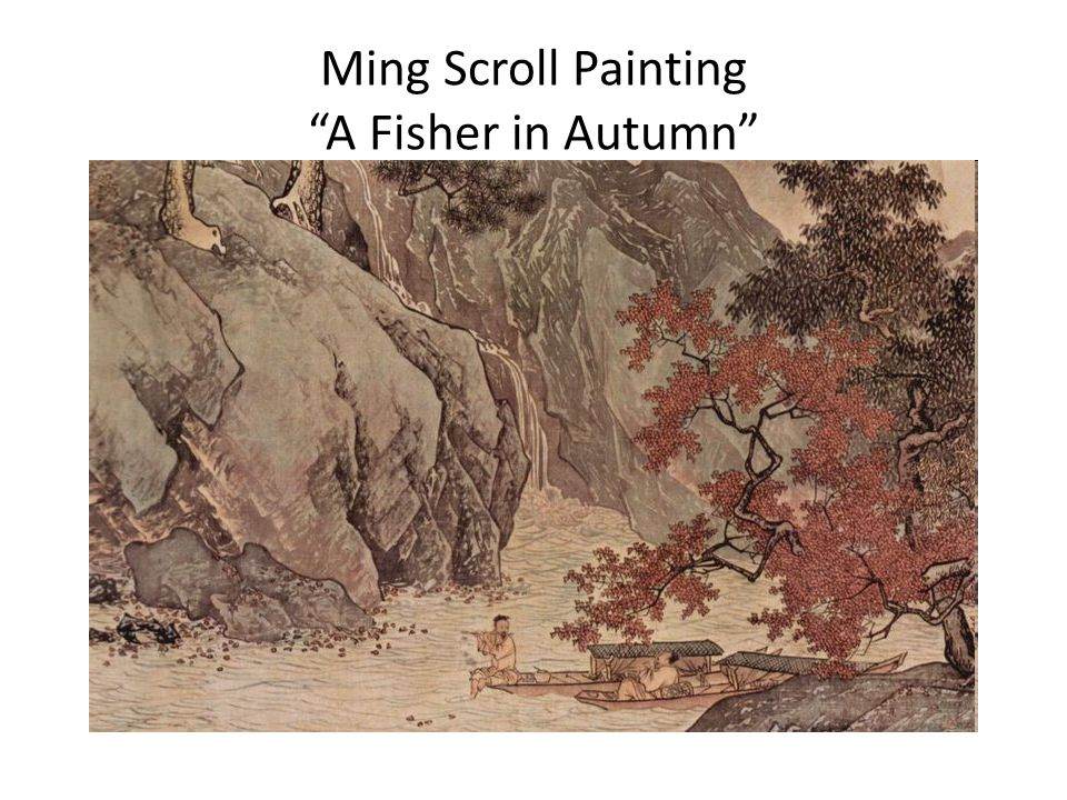 Ming Scroll Painting A Fisher in Autumn