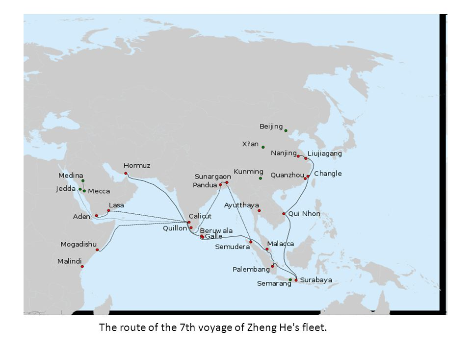 The route of the 7th voyage of Zheng He's fleet.