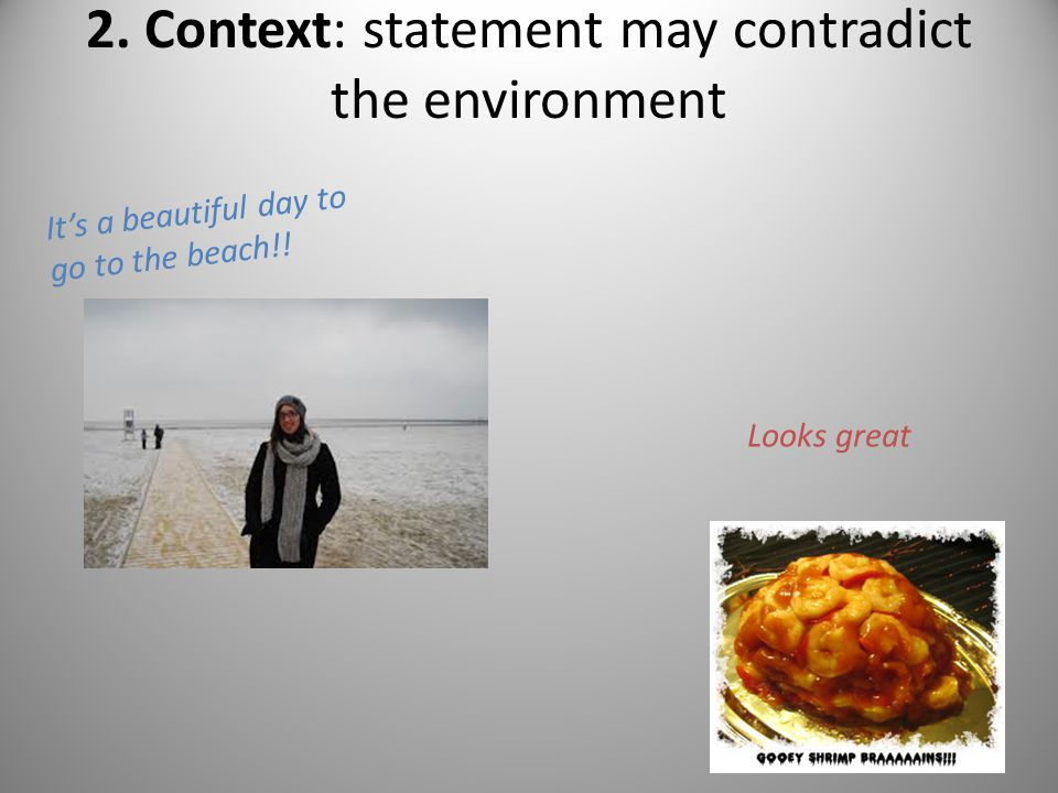 2. Context: statement may contradict the environment It's a beautiful day to go to the beach!! Looks great
