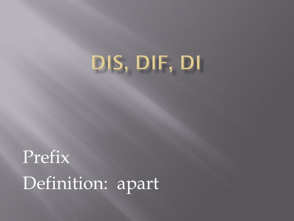 Prefix Definition: apart