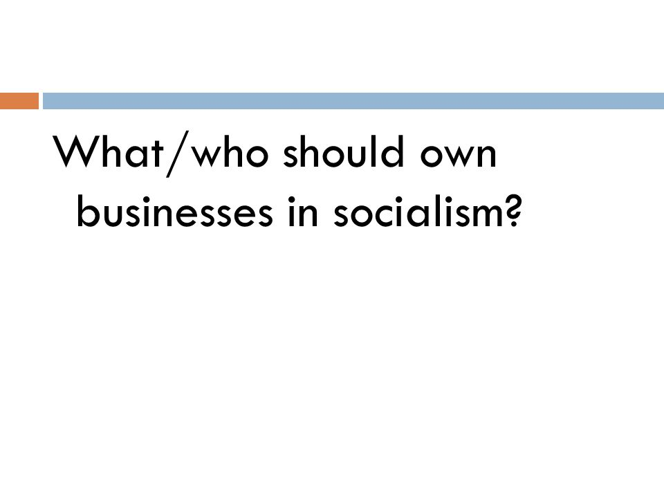 What/who should own businesses in socialism