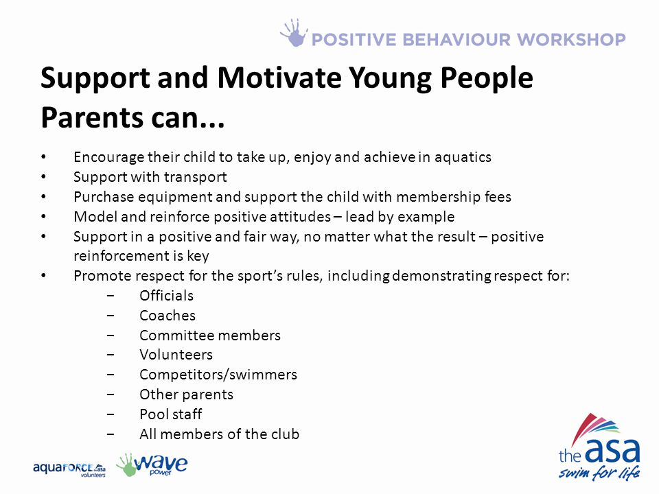 Support and Motivate Young People Parents can...
