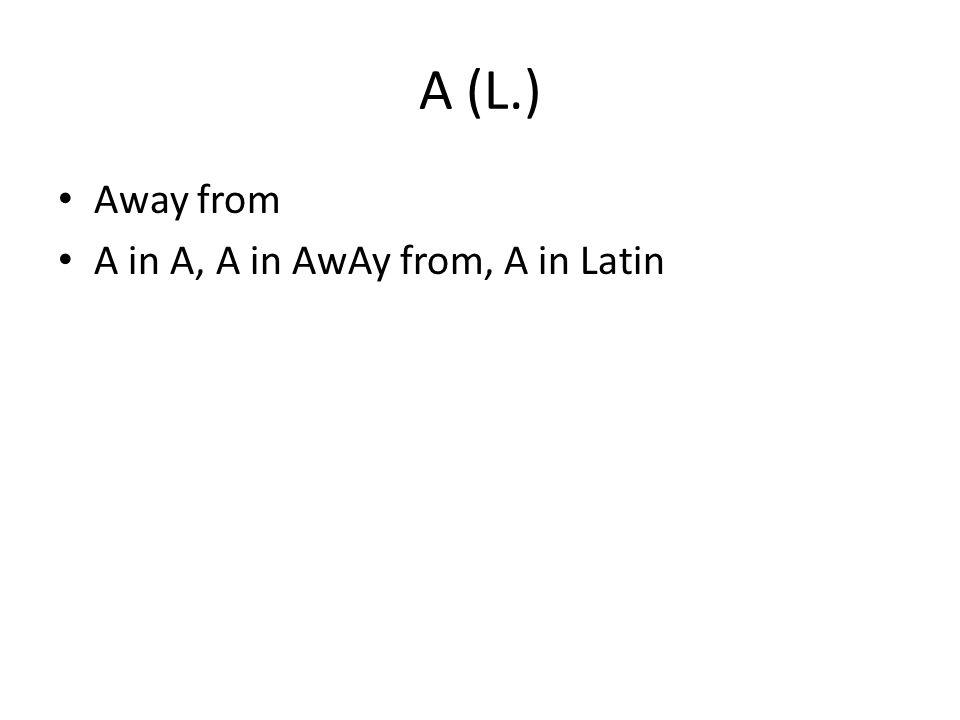 A (L.) Away from A in A, A in AwAy from, A in Latin