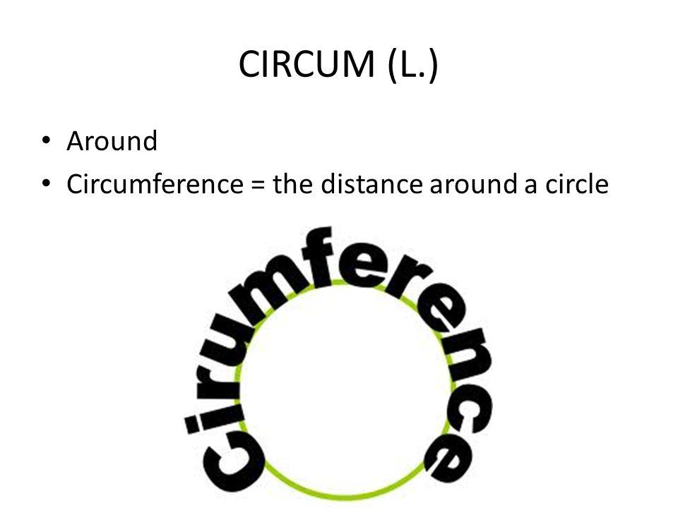CIRCUM (L.) Around Circumference = the distance around a circle