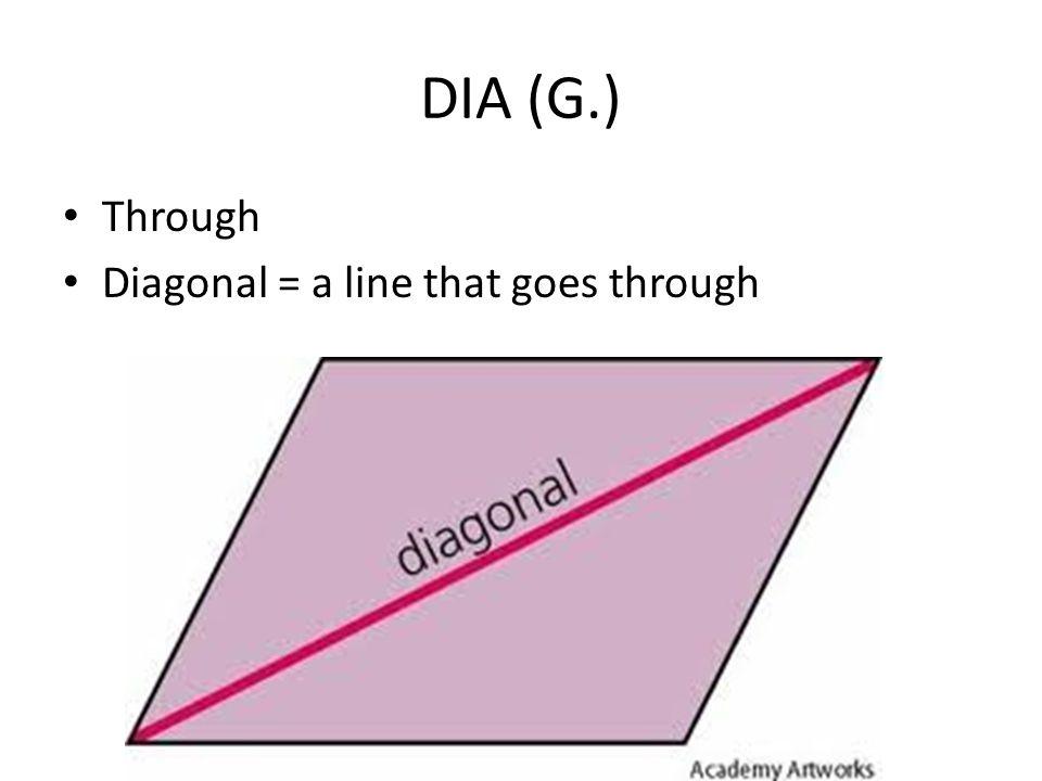 DIA (G.) Through Diagonal = a line that goes through