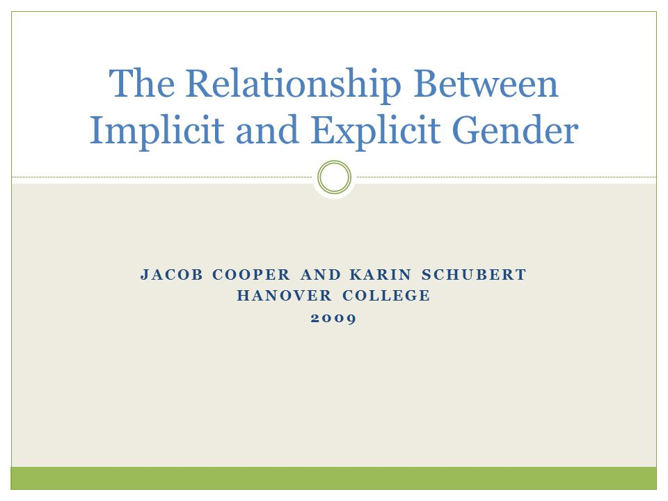 JACOB COOPER AND KARIN SCHUBERT HANOVER COLLEGE 2009 The Relationship Between Implicit and Explicit Gender
