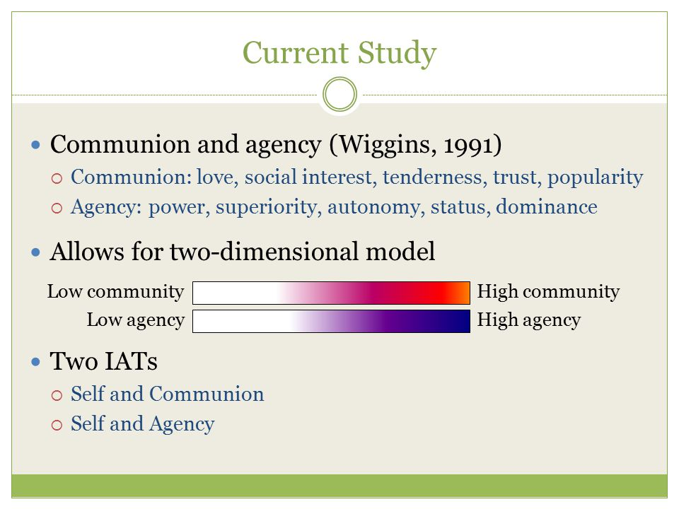 Current Study Communion and agency (Wiggins, 1991)  Communion: love, social interest, tenderness, trust, popularity  Agency: power, superiority, aut