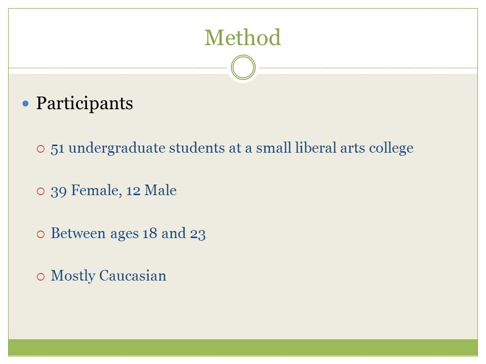 Method Participants  51 undergraduate students at a small liberal arts college  39 Female, 12 Male  Between ages 18 and 23  Mostly Caucasian
