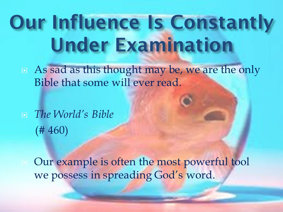 Our Influence Is Constantly Under Examination  As sad as this thought may be, we are the only Bible that some will ever read.