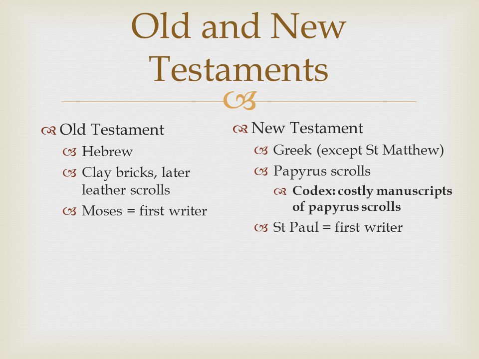 Old and New Testaments  Old Testament  Hebrew  Clay bricks, later leather scrolls  Moses = first writer  New Testament  Greek (except St Matthew)  Papyrus scrolls  Codex: costly manuscripts of papyrus scrolls  St Paul = first writer