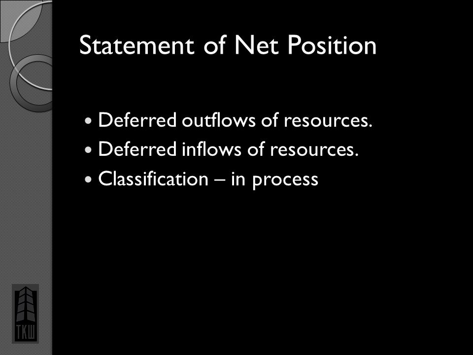 Statement of Net Position Deferred outflows of resources. Deferred inflows of resources. Classification – in process