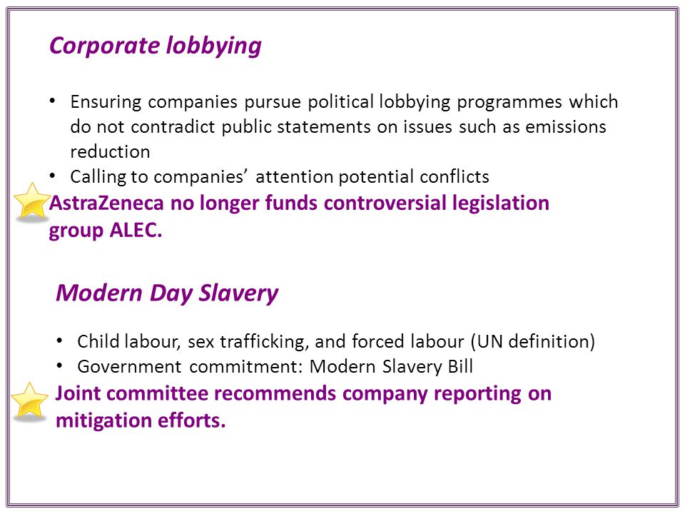 Corporate lobbying Ensuring companies pursue political lobbying programmes which do not contradict public statements on issues such as emissions reduction Calling to companies' attention potential conflicts AstraZeneca no longer funds controversial legislation group ALEC.