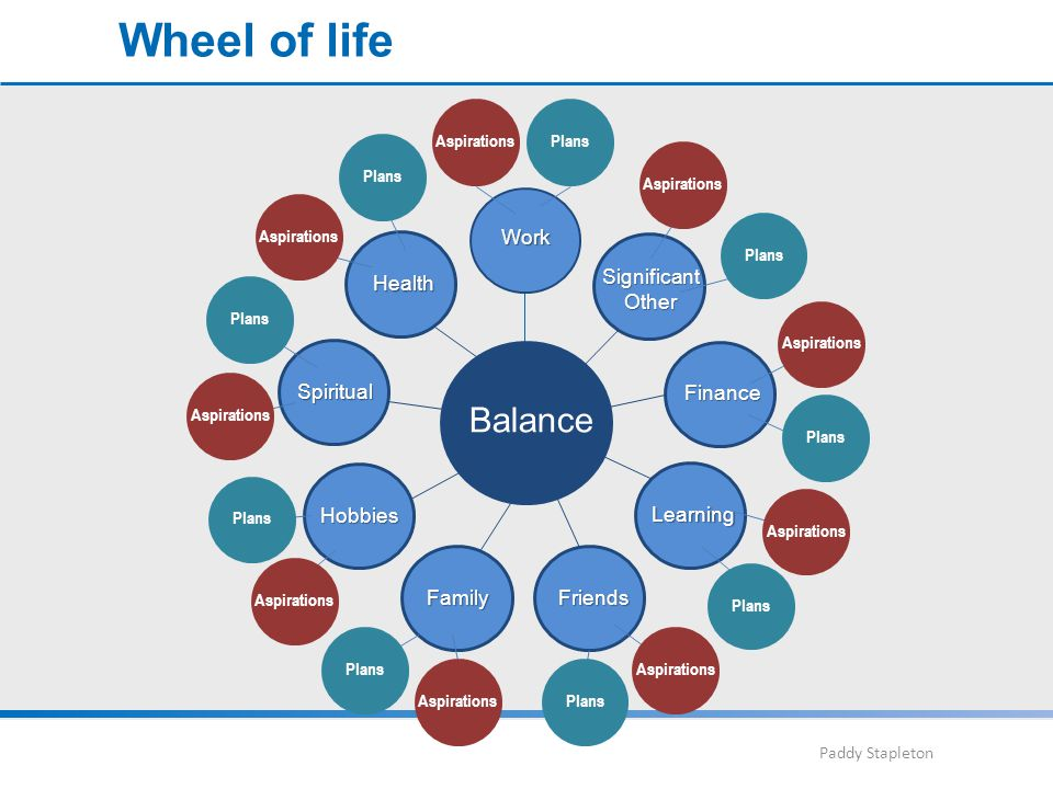 Paddy Stapleton Wheel of life Work Spiritual Health Hobbies FamilyFriends Learning Finance SignificantOther Balance Plans Aspirations