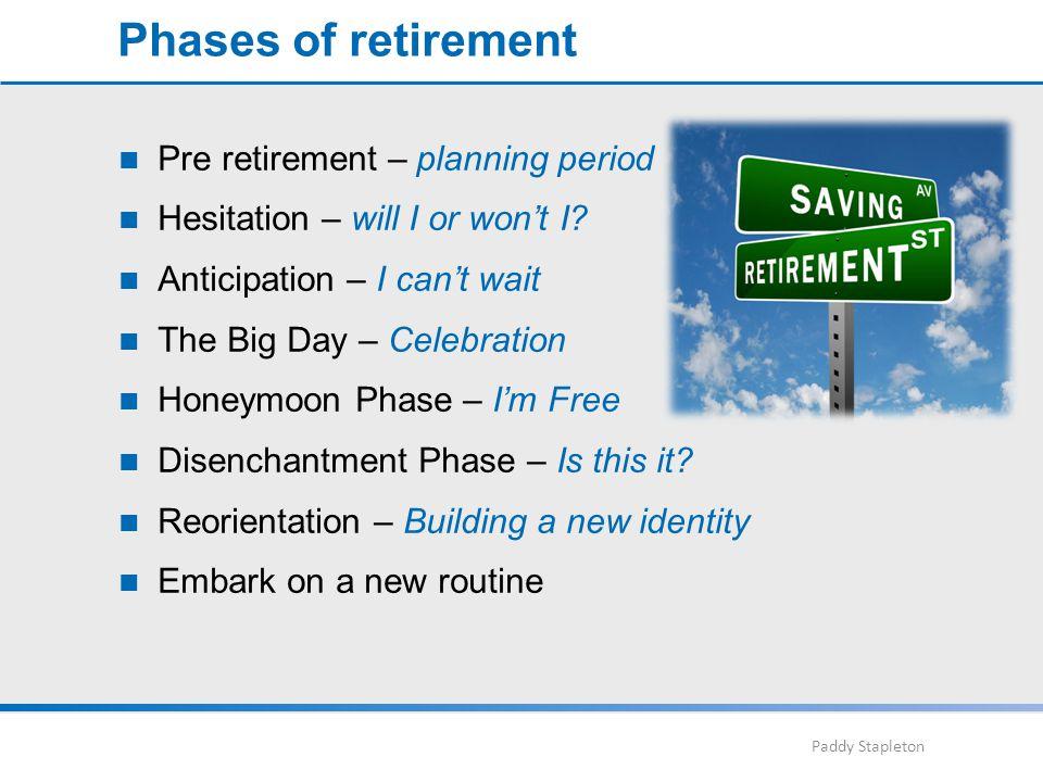 Paddy Stapleton Pre retirement – planning period Hesitation – will I or won't I.