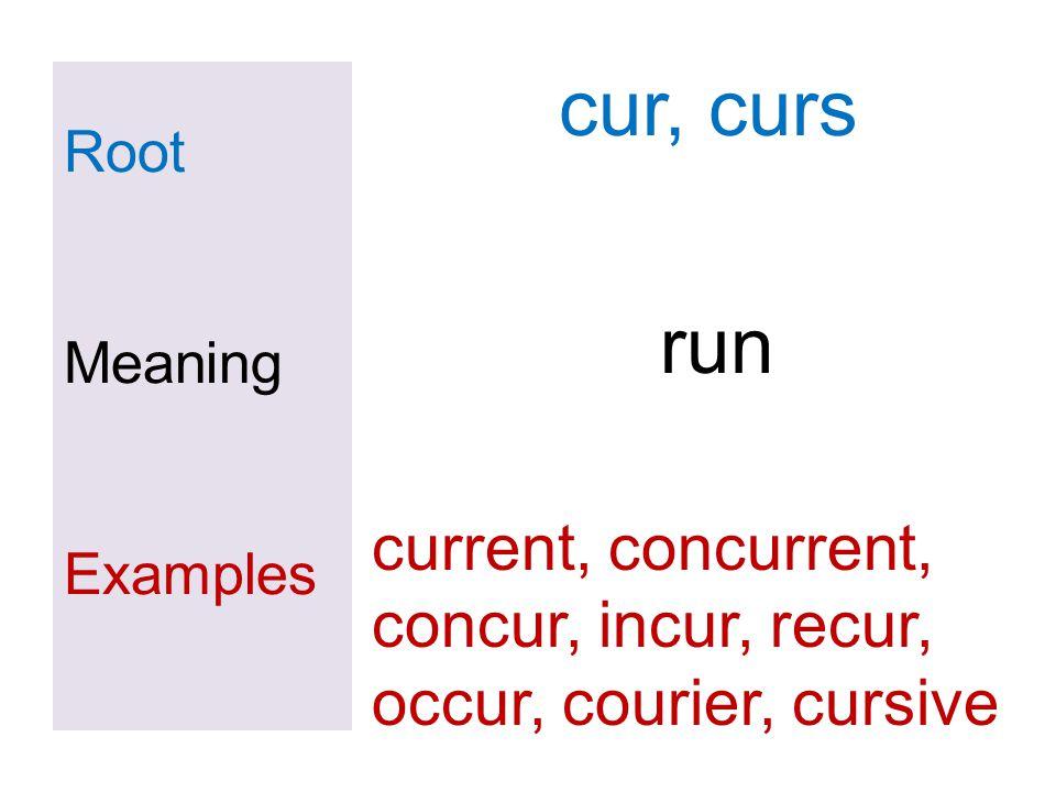 Root Meaning Examples cur, curs run current, concurrent, concur, incur, recur, occur, courier, cursive