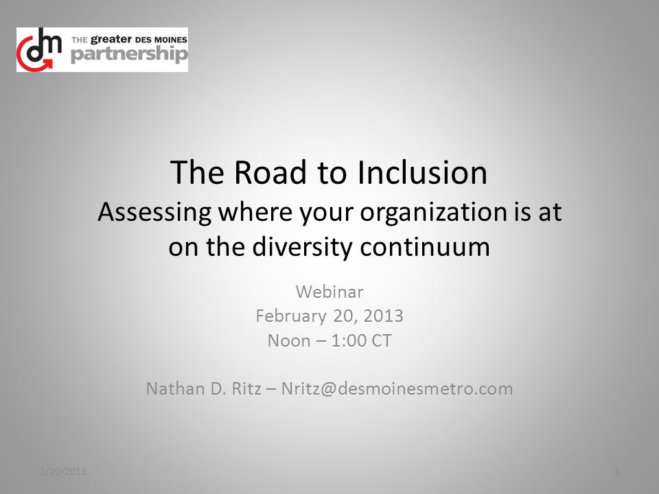 Level 4 – Celebration & Solidarity Diversity is a key driver for productivity, innovation & retention of talent Inclusive policies and HR structure (comprehensive) Professional development is driven 360 Inside-out recognition of diversity Employees participate in governance and diversity strategies Sensitive issues are transparent & discussed openly Diversity is fully integrated into the business infrastructure 2/20/201312