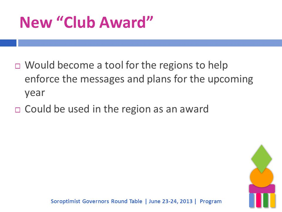 New Club Award Soroptimist Governors Round Table | June 23-24, 2013 | Program  Would become a tool for the regions to help enforce the messages and plans for the upcoming year  Could be used in the region as an award