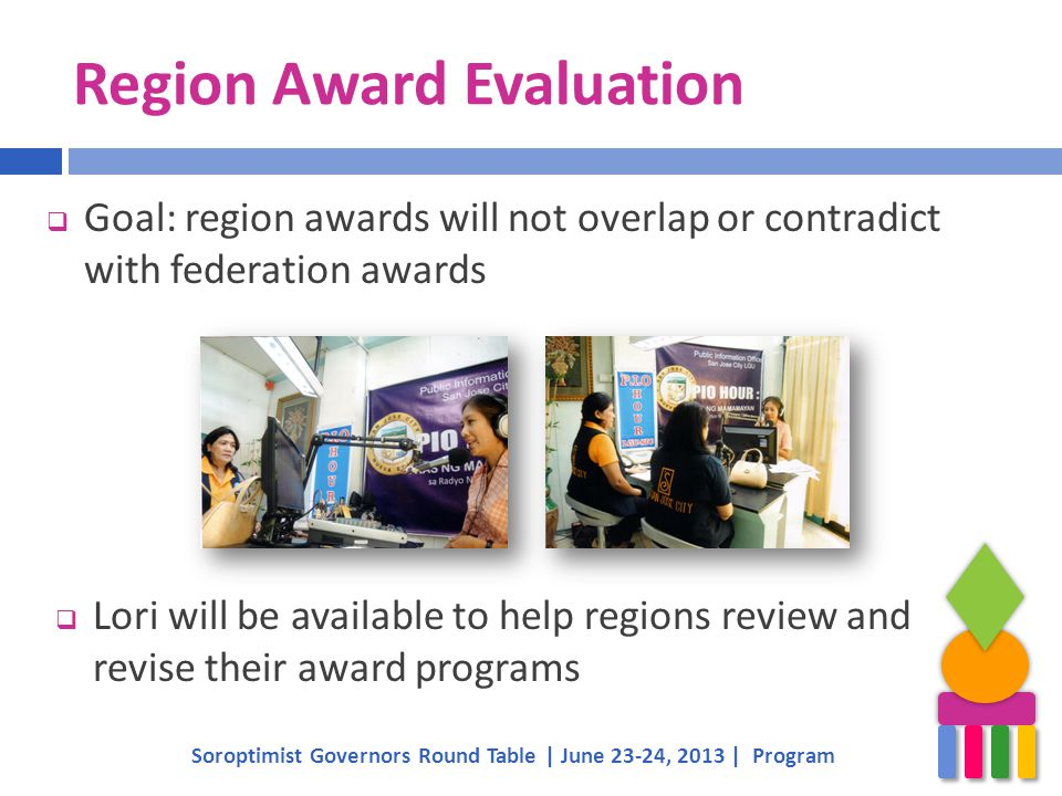 Region Award Evaluation  Goal: region awards will not overlap or contradict with federation awards Soroptimist Governors Round Table | June 23-24, 2013 | Program  Lori will be available to help regions review and revise their award programs