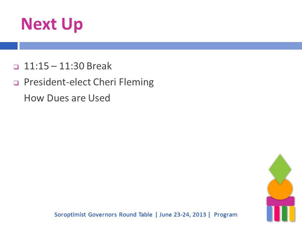 Next Up Soroptimist Governors Round Table | June 23-24, 2013 | Program  11:15 – 11:30 Break  President-elect Cheri Fleming How Dues are Used