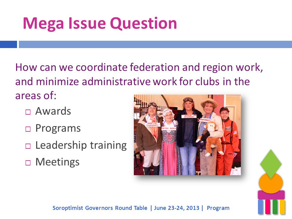 Mega Issue Question  Awards  Programs  Leadership training  Meetings Soroptimist Governors Round Table | June 23-24, 2013 | Program How can we coo
