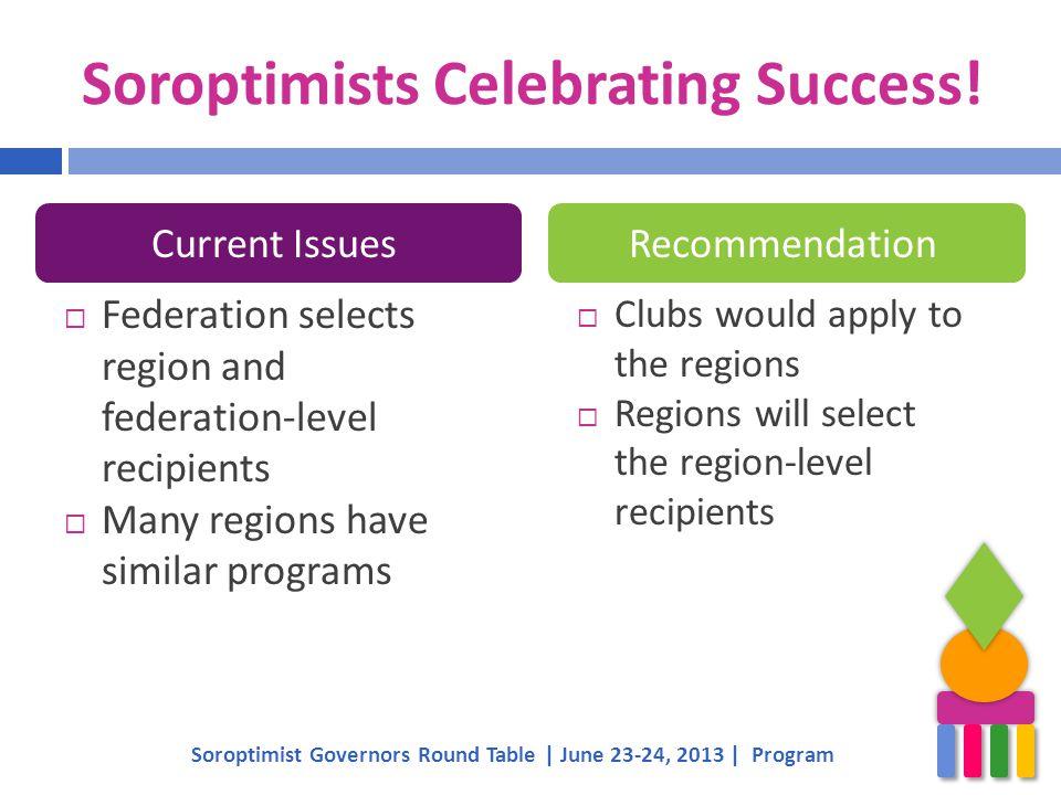 Soroptimists Celebrating Success!  Federation selects region and federation-level recipients  Many regions have similar programs Soroptimist Governo