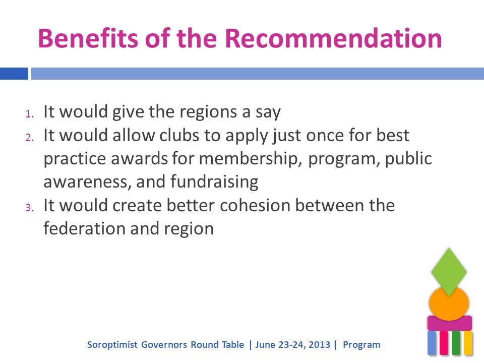 Benefits of the Recommendation 1. It would give the regions a say 2. It would allow clubs to apply just once for best practice awards for membership,