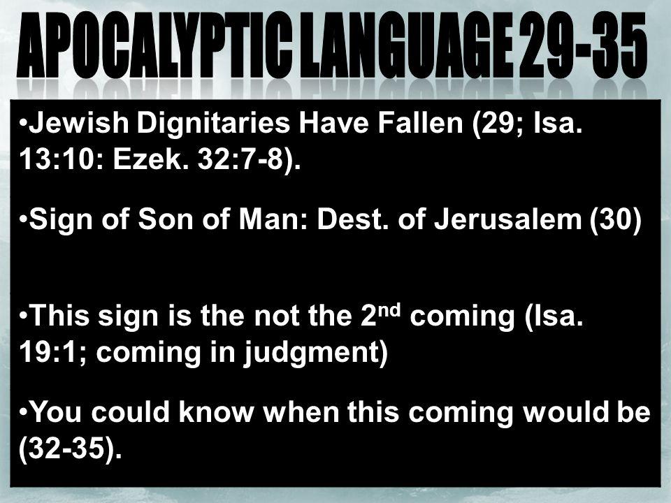 Jewish Dignitaries Have Fallen (29; Isa. 13:10: Ezek.