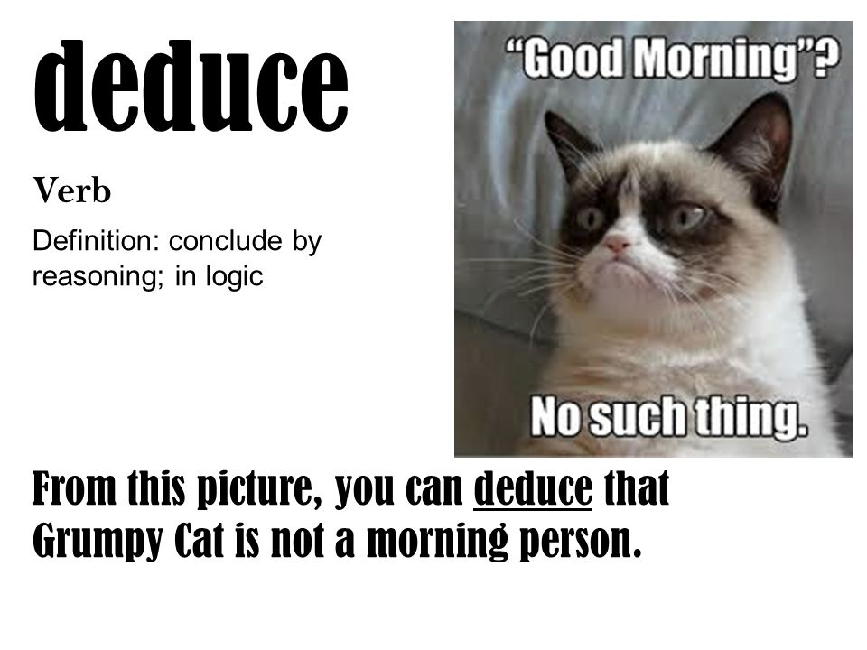 deduce Verb Definition: conclude by reasoning; in logic From this picture, you can deduce that Grumpy Cat is not a morning person.