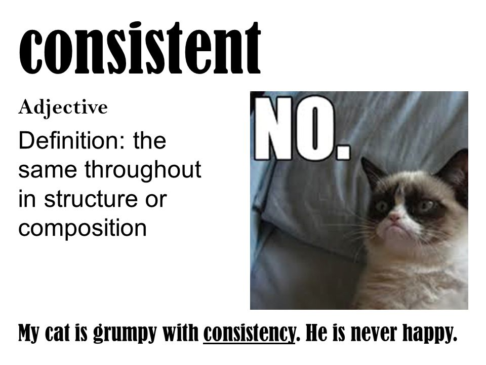 consistent Adjective Definition: the same throughout in structure or composition My cat is grumpy with consistency. He is never happy.