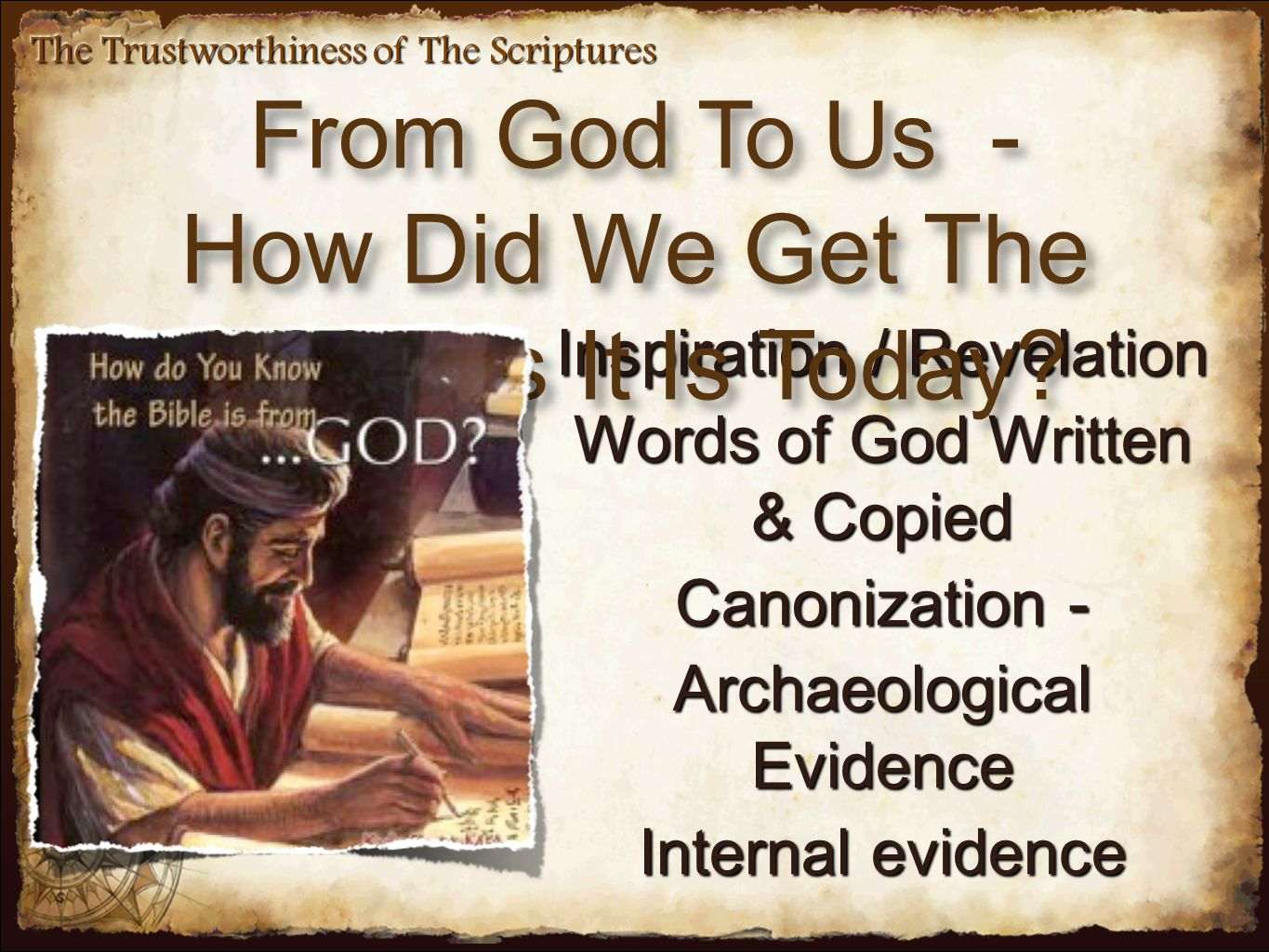 Inspiration / Revelation Words of God Written & Copied Canonization - Archaeological Evidence Internal evidence From God To Us - How Did We Get The Bi