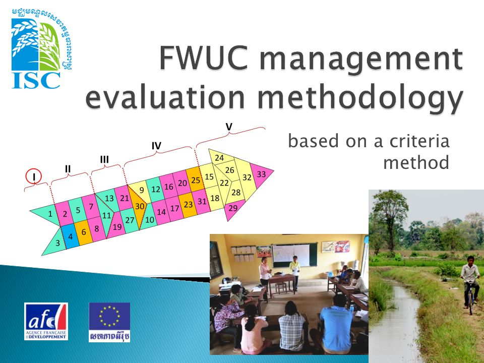 The FWUC capacity to undertake their main tasks:  Operation  Maintenance  Communication and relationship with farmers and other stakeholders  Financial management / ISF collection  Sustainability But only for schemes where infrastructures are operational, water is available at plot level and conflicts between users are manageable.