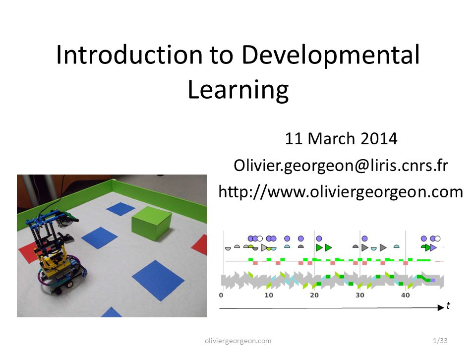 Introduction to Developmental Learning 11 March 2014 Olivier.georgeon@liris.cnrs.fr http://www.oliviergeorgeon.com t 1/33oliviergeorgeon.com