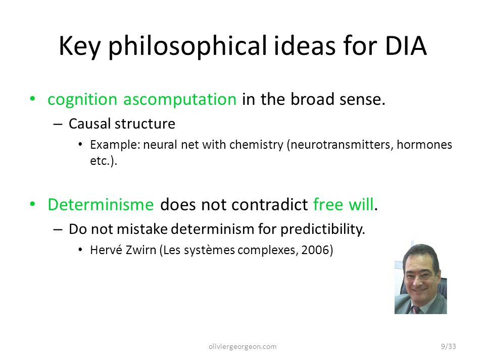 Key philosophical ideas for DIA cognition ascomputation in the broad sense.