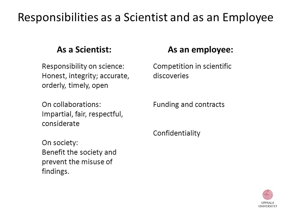 Responsibilities as a Scientist and as an Employee Responsibility on science: Honest, integrity; accurate, orderly, timely, open On collaborations: Im
