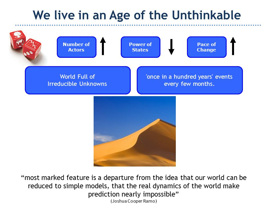 We live in an Age of the Unthinkable World Full of Irreducible Unknowns Number of Actors Power of States most marked feature is a departure from the idea that our world can be reduced to simple models, that the real dynamics of the world make prediction nearly impossible (Joshua Cooper Ramo) once in a hundred years events every few months.