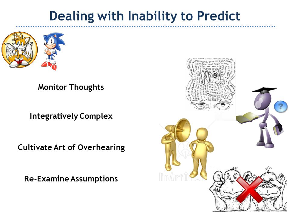 Dealing with Inability to Predict Monitor Thoughts Cultivate Art of Overhearing Integratively Complex Re-Examine Assumptions