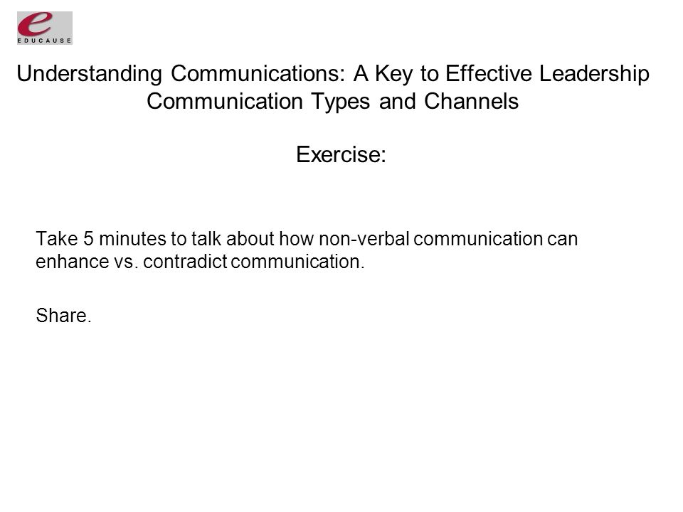 Understanding Communications: A Key to Effective Leadership Communication Types and Channels Exercise: Take 5 minutes to talk about how non-verbal communication can enhance vs.
