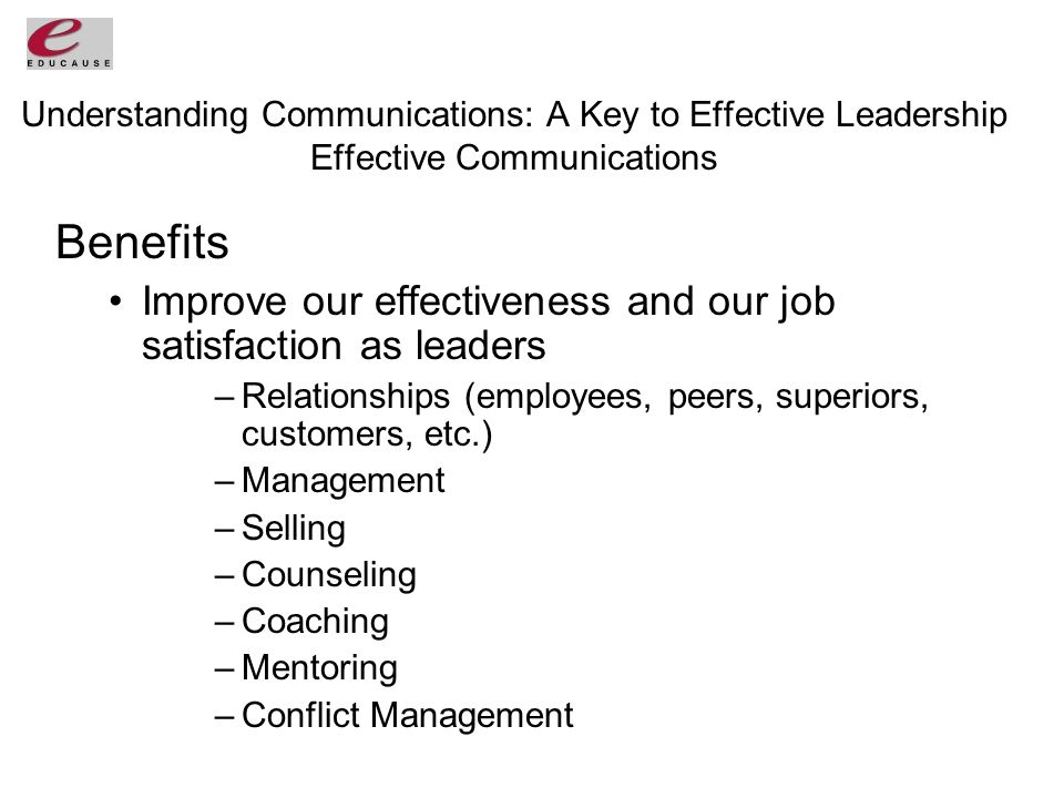 Understanding Communications: A Key to Effective Leadership Effective Communications Benefits Improve our effectiveness and our job satisfaction as leaders –Relationships (employees, peers, superiors, customers, etc.) –Management –Selling –Counseling –Coaching –Mentoring –Conflict Management