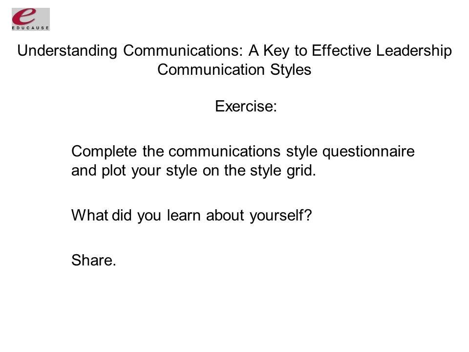 Understanding Communications: A Key to Effective Leadership Communication Styles Exercise: Complete the communications style questionnaire and plot your style on the style grid.