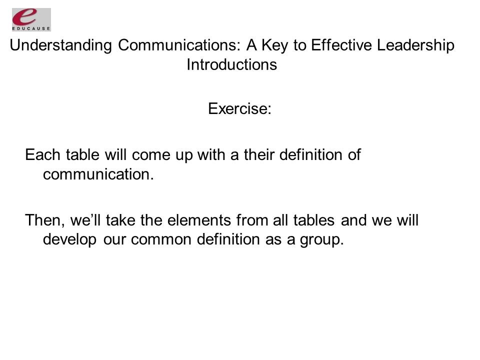 Understanding Communications: A Key to Effective Leadership Introductions Exercise: Each table will come up with a their definition of communication.