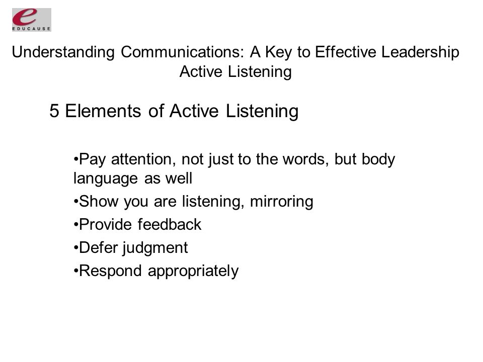 Understanding Communications: A Key to Effective Leadership Active Listening 5 Elements of Active Listening Pay attention, not just to the words, but body language as well Show you are listening, mirroring Provide feedback Defer judgment Respond appropriately