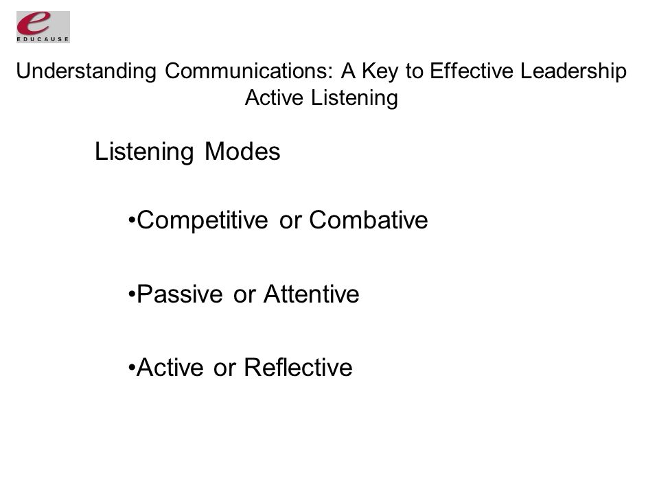 Understanding Communications: A Key to Effective Leadership Active Listening Listening Modes Competitive or Combative Passive or Attentive Active or Reflective