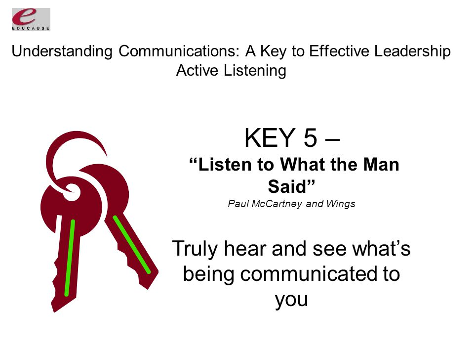 Understanding Communications: A Key to Effective Leadership Active Listening KEY 5 – Listen to What the Man Said Paul McCartney and Wings Truly hear and see what's being communicated to you